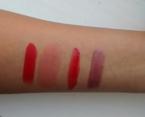 From Left to Right in natural light: Rimmel Kate Moss Collection 01, Benefit's Benetint, Maxfactor's Captivating Ruby & No.7 in Sassy.